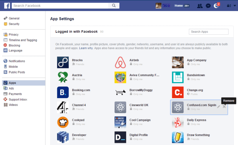 Facebook apps page