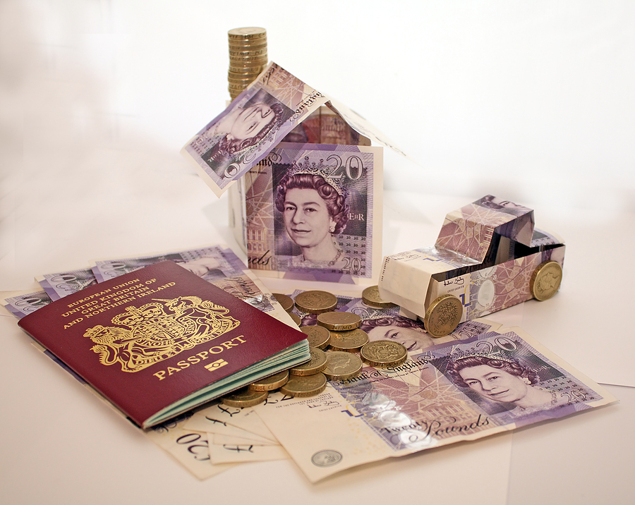 a money house and car with passport