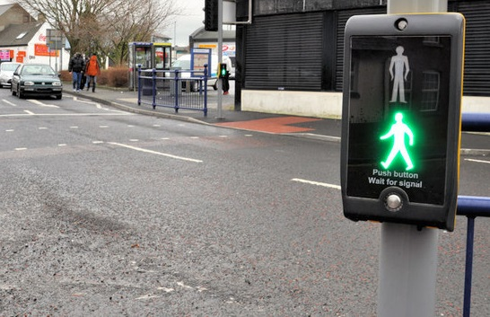 Puffin crossing green man traffic light