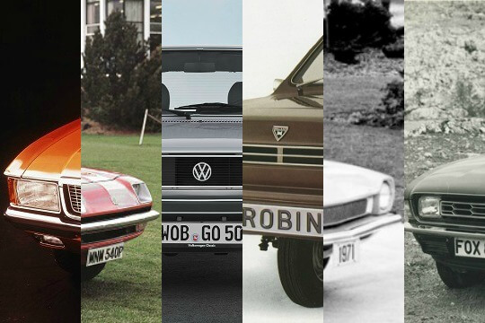 A collage of the best and worst cars of the 70s