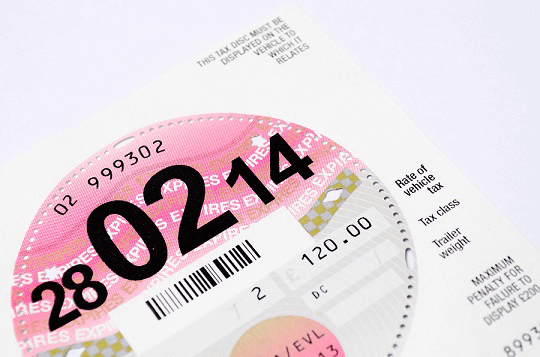Car tax disc and paperwork