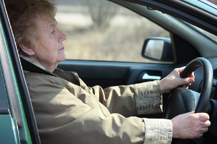 Elderly female motorist