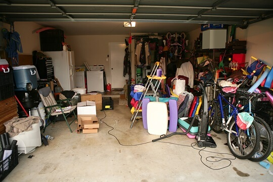 Messy abandoned garage