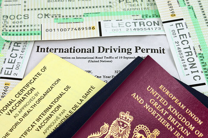 Passport, International Driving Permit, tickets
