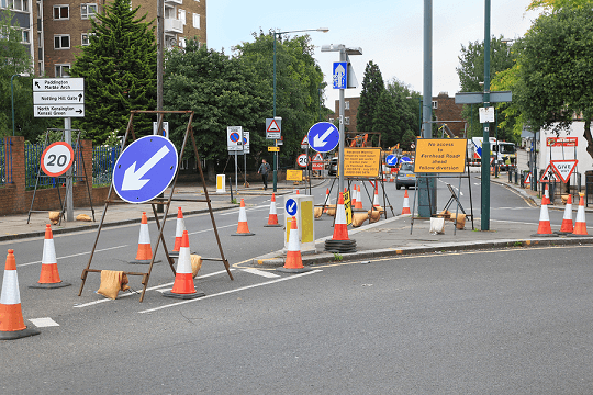 Road works and traffic signs
