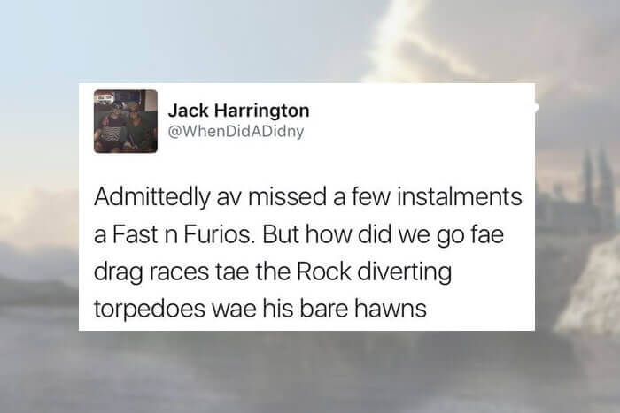 Scottish tweets about driving