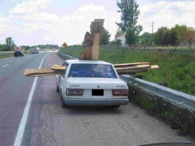 wooden planks in car