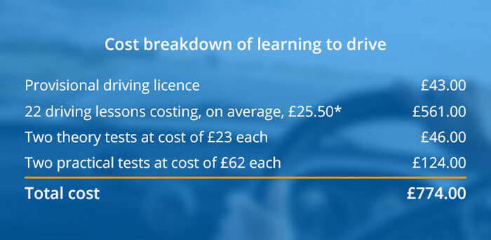 Cost of learning to drive