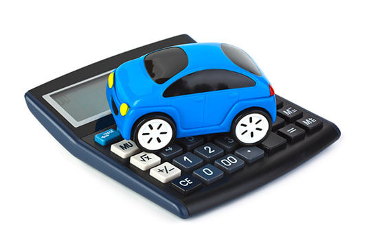 Toy car on top of a calculator
