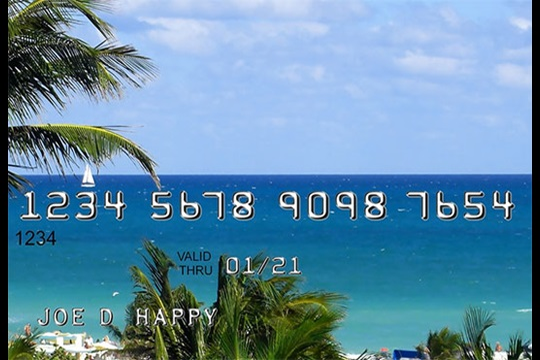 Credit card with a beach background