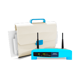 A briefcase and internet router