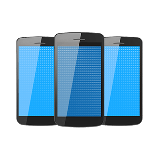 Three smartphones with blue screens