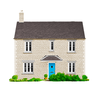 A detached house with a blue door